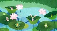 イラスト 蓮の葉の上の動物たち