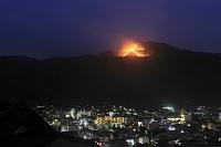 京都府 右大文字の送り火と京都市街