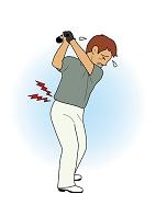 ゴルフをしてる男性(腰痛)