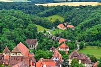 ドイツ 俯瞰で見えるローテンブルクの街と観光客