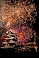 日本 愛媛県 大洲城と川まつり花火大会
