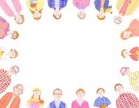 3組の三世代家族の輪