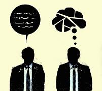 イラスト アイデアが浮かぶビジネスマンと困惑するビジネスマン