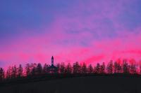 北海道 千代田の丘の夕景