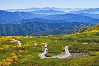 長野県 紅葉の位ヶ原と青い山並み