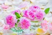小さなガラス器のバラの花と花びら