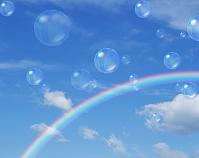 青空にシャボン玉と虹 CG