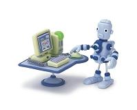 パソコンを操作するロボット