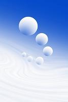 複数の球体と曲線イメージ CG