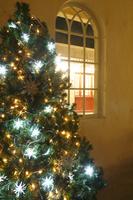 クリスマスツリーのある部屋の窓から見える街並み