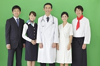 様々な職業の日本人男女の合成用素材