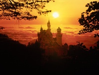 ドイツ 夕日とノイシュヴァンシュタイン城