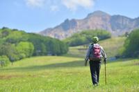 初夏の高原を歩くハイカー