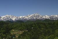 長野県 小川村 農村と北アルプス(鹿島槍 爺ヶ岳 他)
