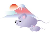 初日の出の富士と親子ネズミ
