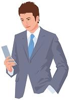 携帯電話を操作する男性