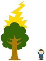 木に落ちる雷と避難する人