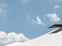 スキージャンプをするウサギ