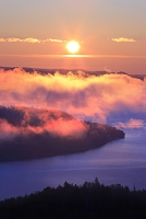 北海道 日の出と霧