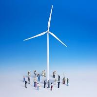 ミニチュア 風力発電と人物