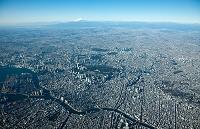 東京全景(隅田川より富士山方面)高度3,000m