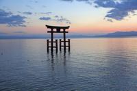 滋賀県 白鬚神社 鳥居 夕景
