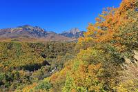 山梨県,紅葉の北杜八ヶ岳公園線より八ヶ岳