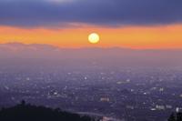 京都府 平成最後の正月初日の出と京都市街の街並み
