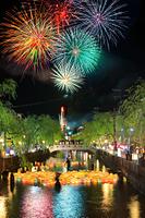 兵庫県 城崎温泉 夏物語の夢花火と灯篭流し