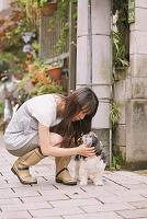 犬とじゃれ合う女性