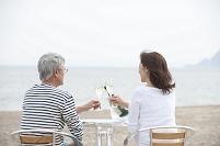 海辺のシャンパンで乾杯をする中年夫婦後姿