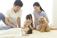 リビングでお昼寝をする赤ちゃんを見つめる日本人家族