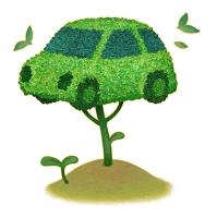 イラスト 自動車型の樹木と双葉のエコイメージ