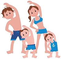 準備体操をする家族