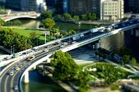 大阪府 大阪中之島公園と阪神高速道路