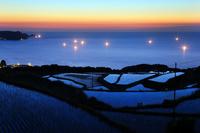 山口県 夕暮れの東後畑の棚田と日本海の漁火