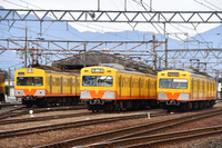 三重県 三岐鉄道 車庫に並ぶ101系、801系普通電車