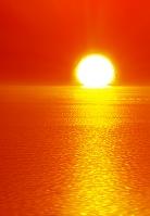 夕日に照らされる海 CG