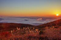 福島県 福島盆地の雲海と朝日