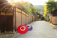 京都府 朝の八坂道と石畳の蛇の目傘