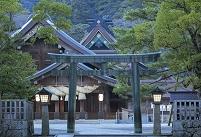 島根県 出雲大社の本殿と拝殿と銅鳥居