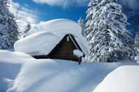 北海道 東川町 小屋に積もった雪