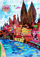 世界遺産アート ドイツ レーゲンスブルク旧市街とシュタットア...