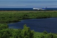 夏のメグマ沼とボーイング767 ANA 稚内空港