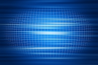 湾曲する格子模様と光 CG