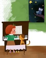 猫とピアノを弾く少女