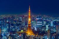 東京六本木ヒルズからの東京タワー夜景