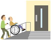 車いすを押してもらう老人男性