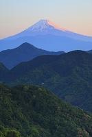 静岡県 葛城山林道 朝日に染まる残雪の富士山と山並み