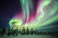 アメリカ合衆国 極北アラスカに舞う赤のオーロラ